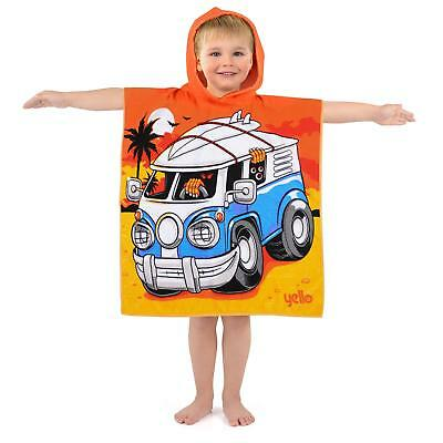 Yello Kids Hooded Beach Changing Poncho Microfibre Towel - Shark Robot Campervan