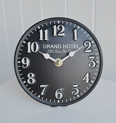 Small French Vintage Style Mantle Bedside Clock in Black Clocks