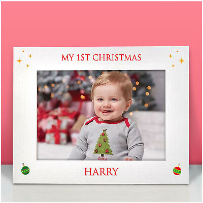 Babys First Christmas PERSONALISED Printed Photo Frame 6x4 5x7 Pictures Keepsake