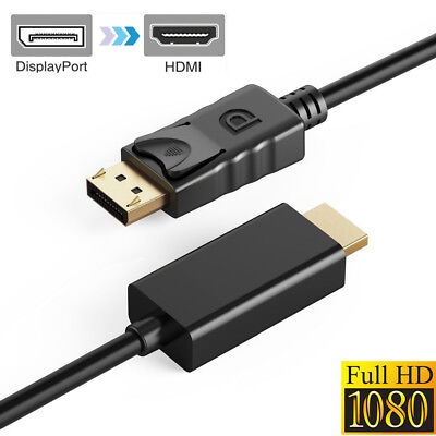 6FT Display Port DP to HDMI Male to Male Cable Wire Adapter Gold Plated 1080P HD