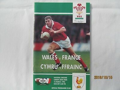Wales v France. Rugby Union 1996.Programme + Event Tickets.