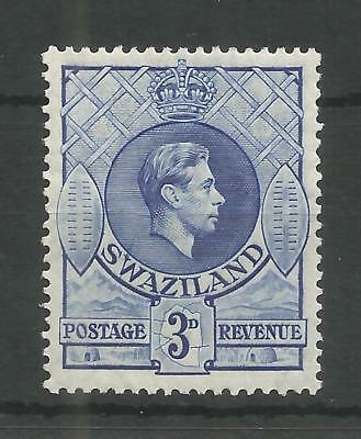 SWAZILAND 1938 GEORGE 6TH 3d ULTRAMARINE SG,32 M/MINT LOT 1233B