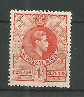 SWAZILAND 1938 GEORGE 6TH 4d ORANGE SG,33 M/MINT LOT 1234B