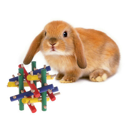 Colorful Safety Pet Toy Wood Knot Nibbler Chew Bite For Rabbit Animal Kid Adults