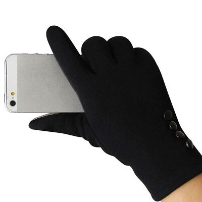 Winter Black Gloves Warm Thick Fleece Lined Thermal Button Touch Screen Women