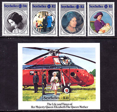 Seychelles #567-571 Queen Elizabeth Queen Mother Set/4 + S/s