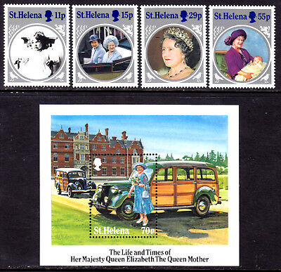 St. Helena #428-432  Queen Elizabeth Queen Mother Set/4 + S/s