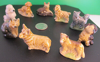 9 Pcs! lot Vintage Collectible Made in England Wade Assorted Dog Figurines Woof!