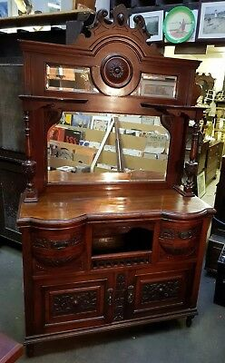Small Mirror-Back Sideboard, Carved Walnut Mirror-Back Sideboard, Late Victorian