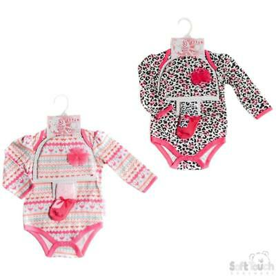 Baby Girls' 3 Piece Set Outfit Gift Bodysuit Hat Socks Age 0-3  3-6  6-9 Months