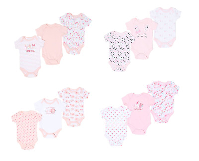 Baby Girl Multi-Pack of 3 Bodysuits Vests Short Sleeve Cotton 0-3 3-6 6-9 Months