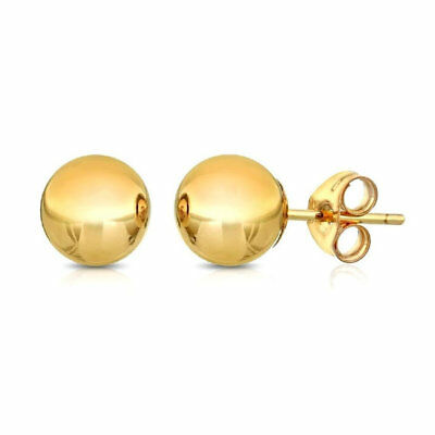 14 kt Yellow White Or Rose Gold Stud Earrings Polished 14k 14 kt Ball Bead Studs