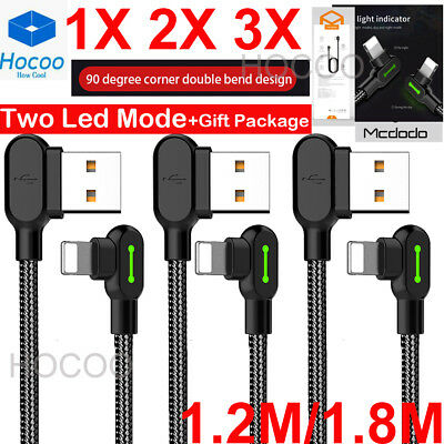 LOT 321 1.2/1.8M 90 Degree Led Right Angle USB Charger lightning Cable iPhone 8X