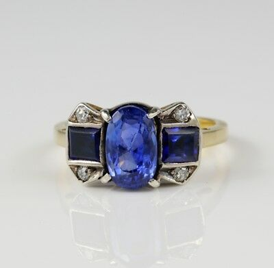 French Victorian 3.10 Ct No Heat Natural Sapphire Plus Rare 1900 Trilogy ring