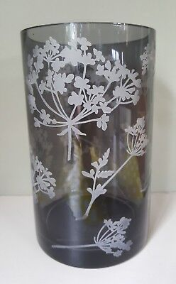 Tall Grey Glass Vase with Etched Wild Cowslip Flowers