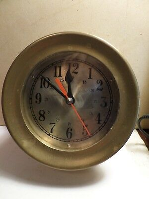 """Vintage Solid Brass Ships Clock Heavy 6.250"""" Dia."""