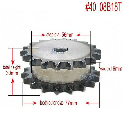 "#40 Chain Drive Sprocket Double Strand 18T Pitch 1/2"" 08B18T For #40 Chain"