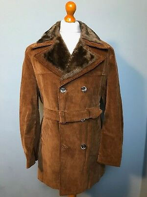 Vintage 1970's Cord belted borg lined peacoat size 42