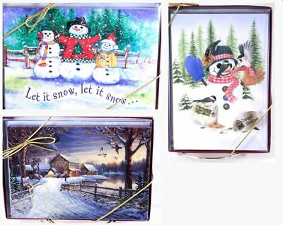 Leanin Tree WINTER SNOW BOXED CHRISTMAS CARDS Holiday 30 pcs 3 designs