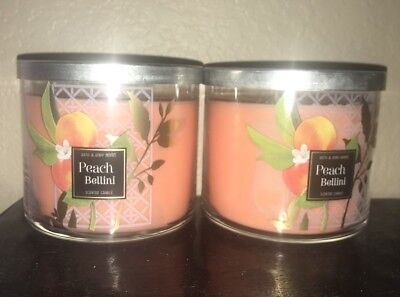 2 Bath & Body Works PEACH BELLINI Large 3-Wick Candles Fresh Scent! -Lot of 2-
