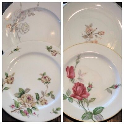 4 DINNER PLATES ~ Vintage Mismatched China ~ Roses Roses Roses Roses!