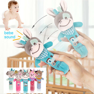 Boys Girls Newborn Baby Rattle Toys Animal Cartoon Hand Bell Soft Children Kids