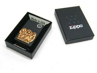 Zippo 29409 Full Size Black Matte Three Monkeys Windproof Lighter