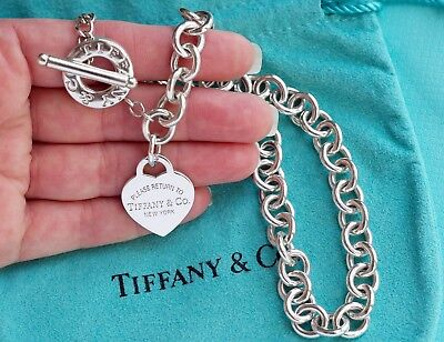 d63b51da0 Tiffany & Co Sterling Silver Return To Tiffany Heart Tag Charm Toggle  Necklace