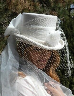 Victorian Trading Co Gothic Equestrienne Top Hat & Veil Wedding Riding White