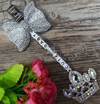 Personalised pram charm with Silver Shiny bow and crystal Crown