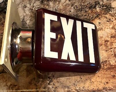Old Ruby Red Thick Glass Lighted EXIT Sign Double Sided Wall Mount Lamp Theater!
