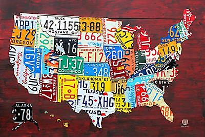 Laminated License Plate Map of the United States Art Poster Print, 36x24