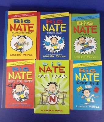 Lot of 6~BIG NATE #1-4+Out Loud~Boredom Buster~HC/PB~Lincoln Peirce~On a Roll+