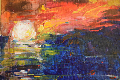 Sunset Acrylic Abstract Landscape Painting on Canvas, Wall Decor, Wall Art