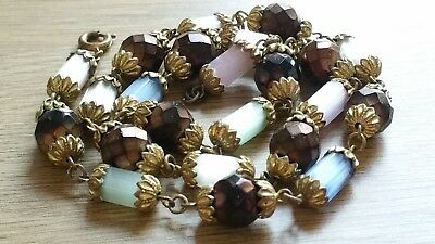 Czech Vintage Art Deco Multi Coloured Rhubarb Wired Glass Bead Necklace