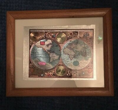 A New And Accvrat Map Of The World, Foiled World Map, Framed & Matted