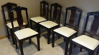 SET OF SIX Original and Refurbished French Art Deco Dining Room Chairs –  Walnut