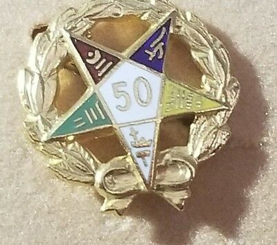 Vintage OES Order of Eastern Star 50 Year Enamel Gold Tone Fraternal Pin