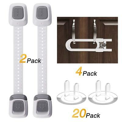 Baby Safety Locks, 6 Pack Child Proof Cabinet Locks and 20 Pack Outlet Plug Cove