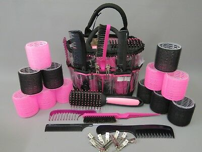 Hair Rollers Set Pink & Black - Backcombing Comb Brushes Clips Vent Brush Case