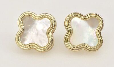 Solid 14k Yellow Gold White Mother of Pearl 4 Leaf Clover Stud Earrings,  New