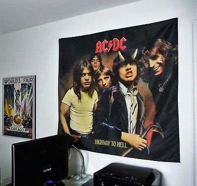 AC/DC Highway to Hell HUGE 4X4 BANNER fabric poster tapestry cd album flag