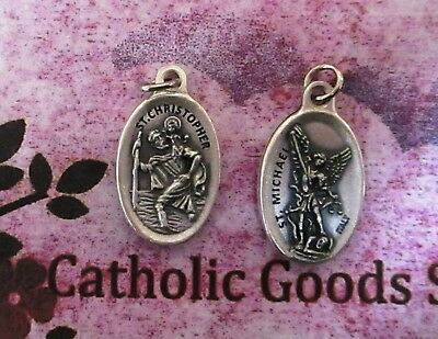 "Saint. Michael the Archangel - St. Christopher -Italian Silver-tone OX 1"" Medal"