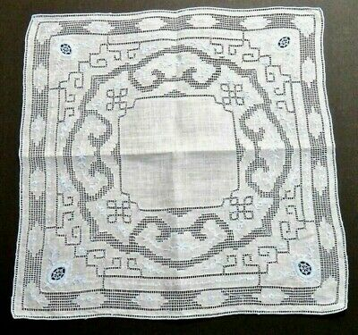 Antique Appenzell Linen Hanky Blue Floral Embroidery & Geometric Mosaic Wedding