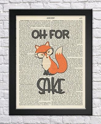 """""""Oh for fox sake"""" dictionary print humorous funny quote vintage wall art 3 for 2"""