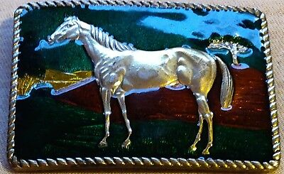 The Great American Buckle Company Brass Belt Buckle Green And Orange Horse1979