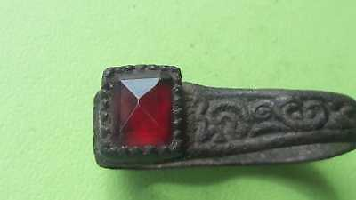 Antique bronze Ring with Red Stone Good for collection