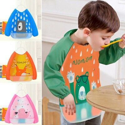 Waterproof Long Sleeve Apron EVA Bibs Feeding Smock Burp Cloths Baby Clothing