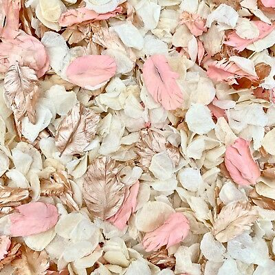 Coral Rose Gold, Pink Ivory Dried Biodegradable Wedding Confetti. Real Petals