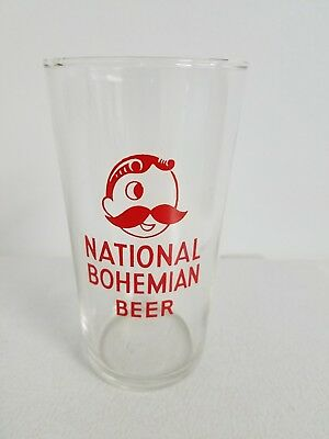 Vintage 1950's Clear National Bohemian Beer 9 oz. Shell Glass Red Logo